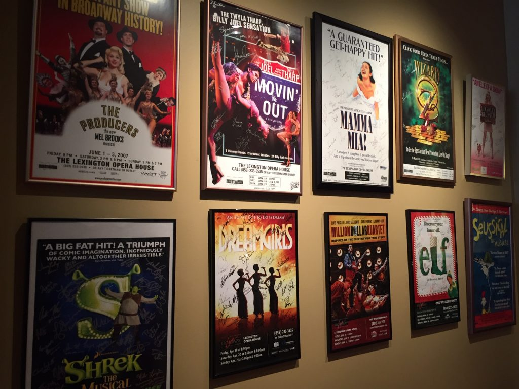Production posters at Lexington Opera House