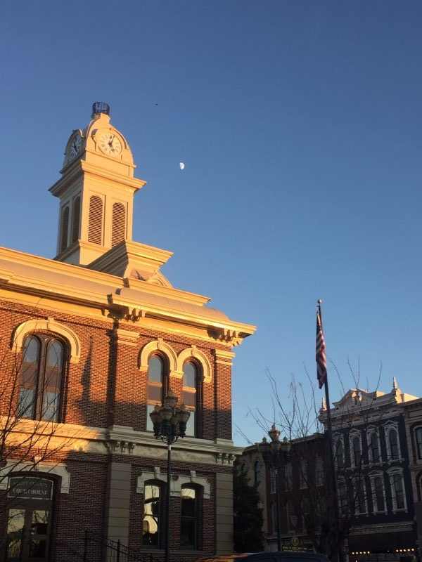Georgetown Kentucky Courthouse at Dusk with Moon