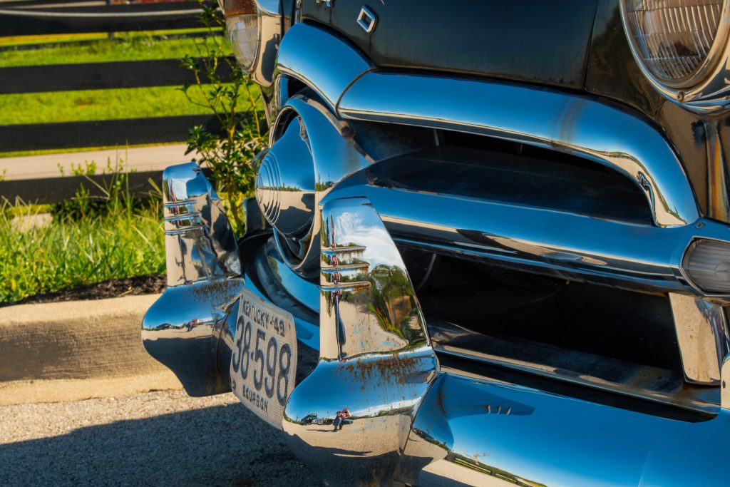 Front grille of classic car