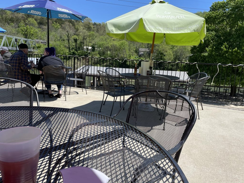 Patio seating at Proud Mary